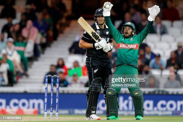 Bangladesh's Mushfiqur Rahim appeals after taking the catch to dismiss New Zealand's Ross Taylor for 82 during the 2019 Cricket World Cup group stage...