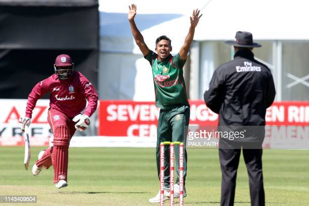 Bangladesh's Mustafizur Rahman appeals successfully for LBW against West Indies' Raymon Reifer during the TriNation Series one day international...