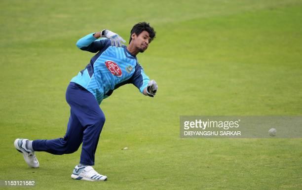 Bangladesh's Mustafizur Rahman attends a training session at Edgbaston in Birmingham, central England on July 1 ahead of their 2019 Cricket World Cup...