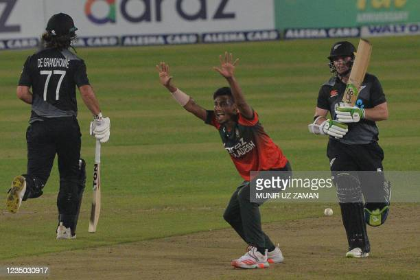 Bangladesh's Mustafizur Rahman unsuccessfully appeals for a Leg Before Wicket decision against New Zealand's captain Tom Latham during the second...