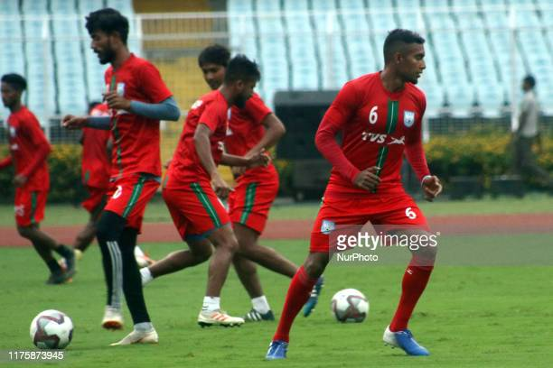 Bangladesh's National football team captain Jamal Bhuyan with a team at the practices session for the FIFA WORLD CUP 2022 Qualifier match against...