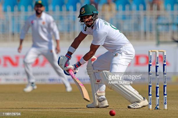 Bangladesh's Nazmul Hossain Shanto plays a shot during the first day of the first cricket Test match between Pakistan and Bangladesh at the...