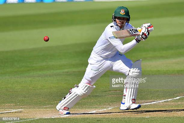 Bangladesh's Nurul Hasan bats during day four of the second international Test cricket match between New Zealand and Bangladesh at Hagley Park Oval...