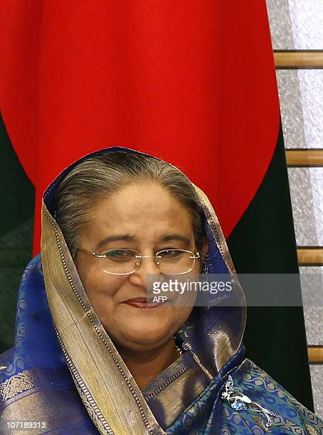 Bangladesh's Prime Minister Sheikh Hasina looks on during a meeting with Japanese Prime Minister Naoto Kan at the official residence in Tokyo on...