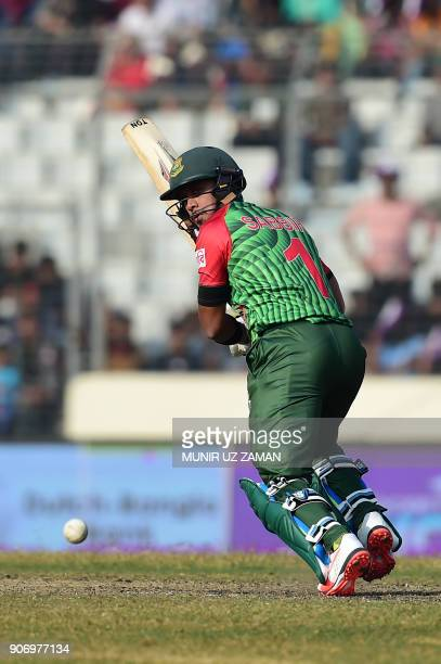 Bangladesh's Sabbir Rahman plays a shot during the third one day international cricket match in the TriNations Series between Bangladesh and Sri...