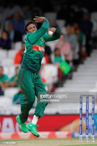 Bangladesh's Shakib Al Hasan bowls during the 2019 Cricket World Cup group stage match between Bangladesh and New Zealand at The Oval in London on...