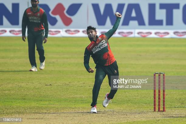 Bangladesh's Shakib Al Hasan delivers a ball during the second one-day international cricket match between Bangladesh and West Indies at the...