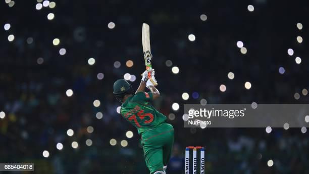 Bangladesh's Shakib Al Hasan plays a shot during 2nd and final T20 International cricket match between Sri Lanka and Bangladesh at R Premadasa...