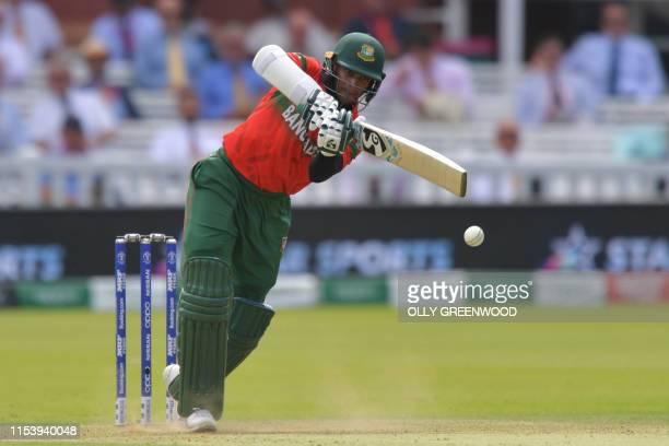 Bangladesh's Shakib Al Hasan plays a shot during the 2019 Cricket World Cup group stage match between Pakistan and Bangladesh at Lord's Cricket...