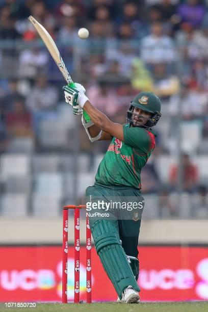Bangladesh's Shakib Al Hasan plays a shot during the second ODI match between Bangladesh against West Indies in Mirpur Dhaka Bangladesh on December...