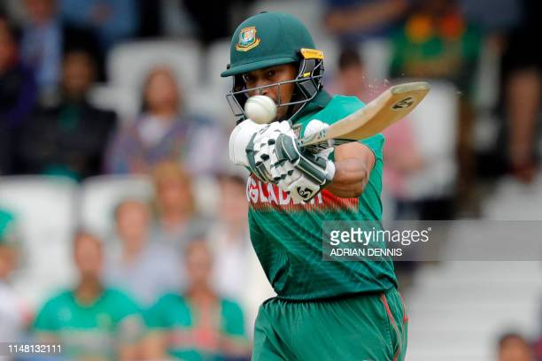 TOPSHOT Bangladesh's Shakib Al Hasan plays shot during the 2019 Cricket World Cup group stage match between Bangladesh and New Zealand at The Oval in...