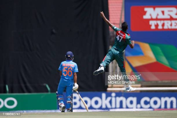 Bangladesh's Shoriful Islam celebrates after the dismissal of India's Ravi Bishnoi during the ICC Under-19 World Cup cricket finals between India and...