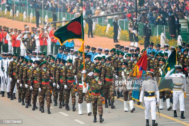 Bangladesh's soldiers march along the Rajpath during the full dress rehearsal for upcoming India's Republic Day Parade in New Delhi on January 23,...