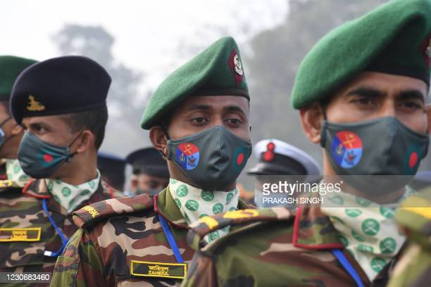 Bangladesh's soldiers participate in a rehearsal for upcoming India's Republic Day parade in New Delhi on January 20, 2021.