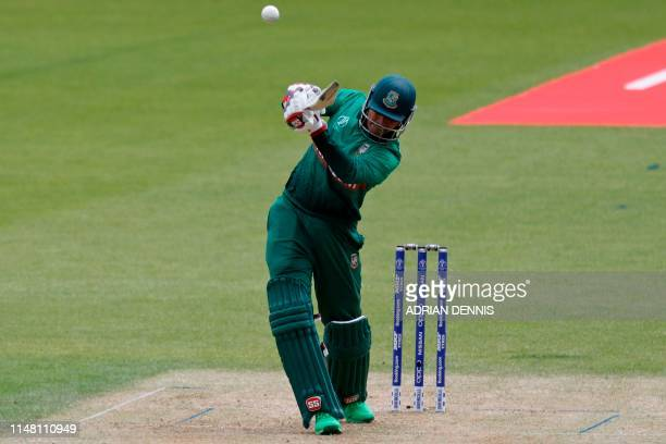 Bangladesh's Soumya Sarkar hits a boundary during the 2019 Cricket World Cup group stage match between Bangladesh and New Zealand at The Oval in...