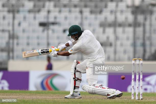 Bangladesh's Soumya Sarkar plays a shot during day two of the First Test match between Bangladesh and Australia at Shere Bangla National Stadium on...