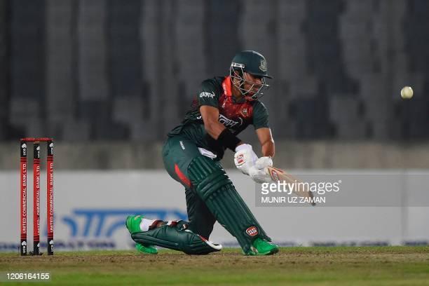 Bangladesh's Soumya Sarkar plays a shot during the first Twenty20 international cricket match of a two-match series between Bangladesh and Zimbabwe...