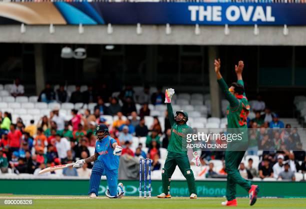Bangladesh's Soumya Sarkar unsuccessfully appeals for lbw of India's Shikhar Dhawan off the bowling of Bangladesh's Mehedi Hasan Miraz during the ICC...