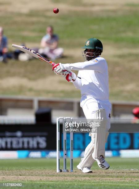 Bangladesh's Tamim Iqbal bats during day one of the first cricket Test match between New Zealand and Bangladesh at Seddon Park in Hamilton on...