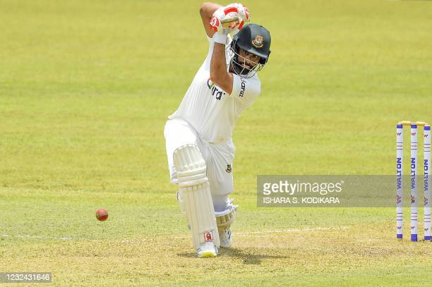 Bangladesh's Tamim Iqbal plays a shot during the first day of the first Test cricket match between Sri Lanka and Bangladesh at the Pallekele...