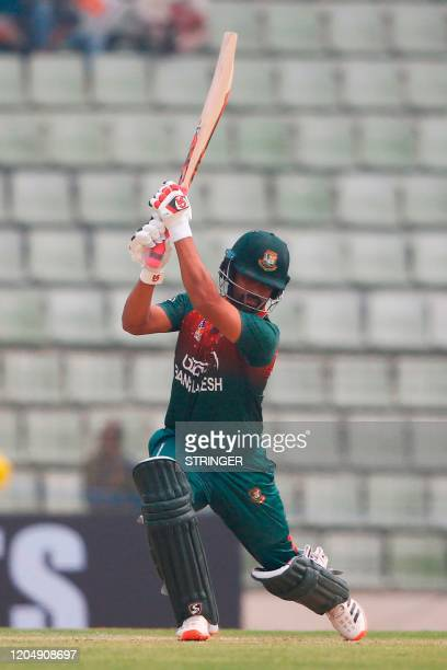 Bangladesh's Tamim Iqbal plays a shot during the second one day international cricket match between Bangladesh and Zimbabwe in Sylhet International...