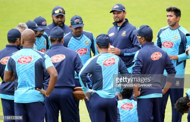 Bangladesj players attend a training session at Edgbaston in Birmingham central England on July1 ahead of their 2019 Cricket World Cup group stage...