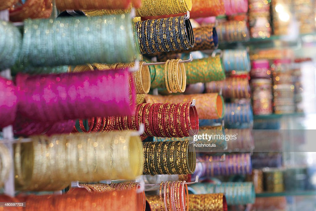 Bangles being sold at Market : Stock Photo