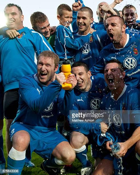 Bangor City celebrate winning the game 3-2 on aggregate