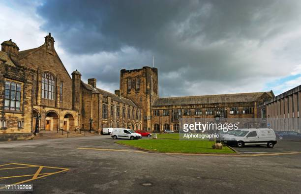 bangor university forecourt - bangor wales stock photos and pictures