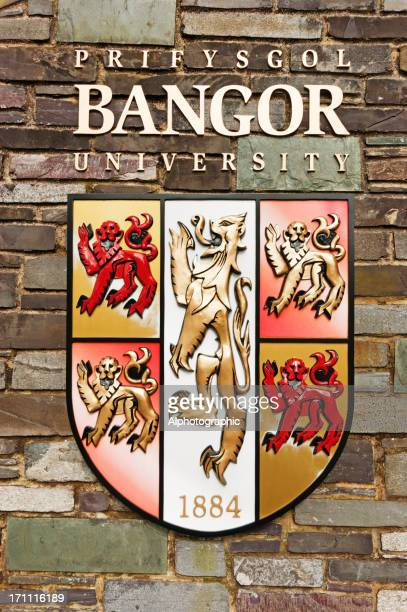 bangor university heraldic shield - bangor wales stock photos and pictures