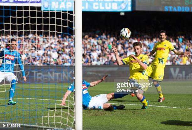 PAOLO NAPOLI CAMPANIA ITALY Bani of Chievo in action during the Serie A football match between SSC Napoli and AC Chievo Verona at San Paolo Stadium