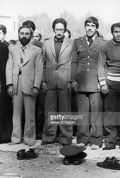 Bani Sadr in prayer in Tehran Iran in 1979 Le Peu after the Islamic revolution in Iran Iranian Prime Minister Bani Sadr participates in the Friday...