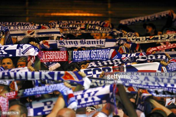 Banik Ostrava fans soak up the atmosphere at the Riverside Stadium