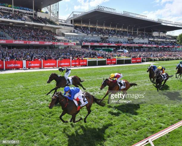 Banish ridden by Craig Williams wins the italktravel Fillies Classic at Moonee Valley Racecourse on October 28 2017 in Moonee Ponds Australia