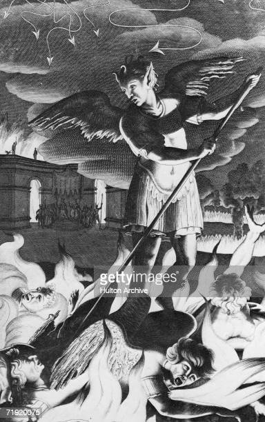 Banished from Heaven Satan rouses his rebel angels from the fiery pool in 'bottomless perdition' in an illustration from Book I of the 1688 first...