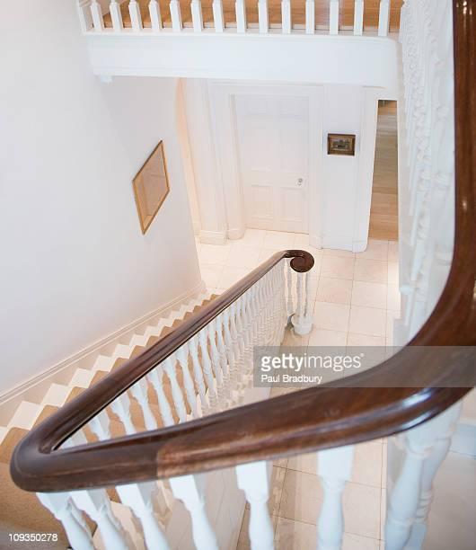 Banister on elegant home staircase