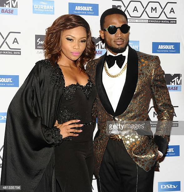 D'Banj of Nigeria and his girlfriend Bonang Matheba seen on the red carpet at the 2015 MTV Africa Music Awards on July 182015 at the Durban...