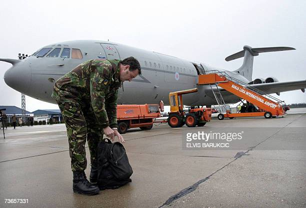 A soldier from the first contingent of 100 British soldiers members of the EU peacekeeping mission in Bosnia and Herzegovina departs from the Banja...