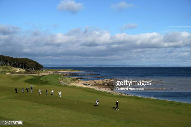 Banjamin Herbert of France walks down the 12th during day one of the 2018 Alfred Dunhill Links Championship at Kingsbarns Golf Links on October 4,...
