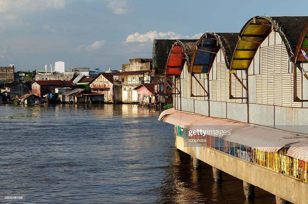 Banjarmasin city on an Borneo island, Indonesia : Stock Photo
