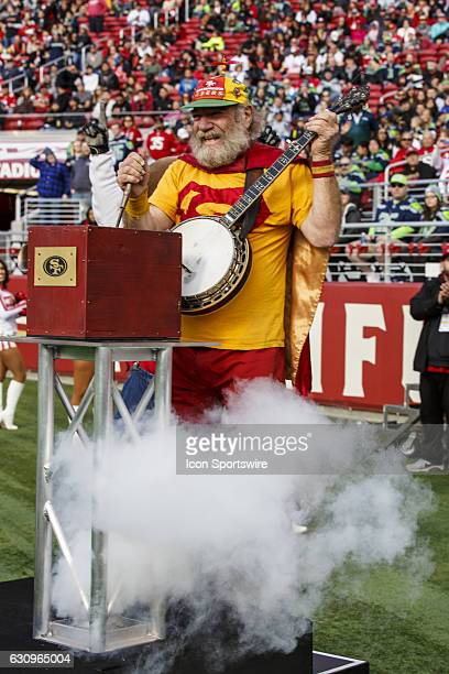 Banjo man a major 49ers fan won the right to sound the horn before the regular season game between the Seattle Seahawks and the San Francisco 49ers...