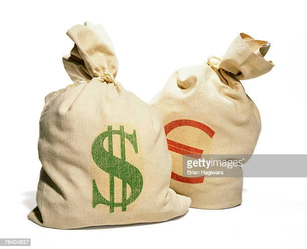 Bank bags with dollar sign and euro sign