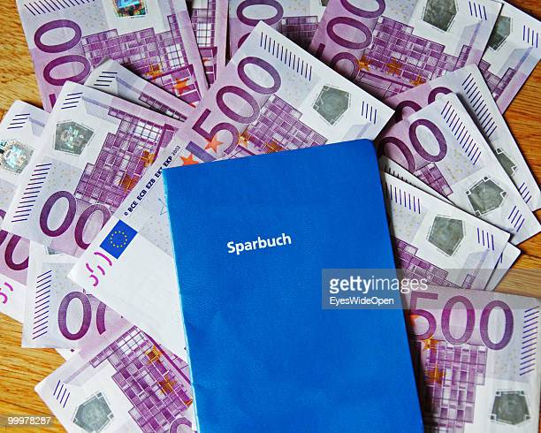Bank book with 500 Euro banknotes on May 09 2010 in Munich Germany