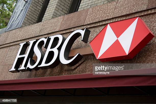 hsbc bank branch in downtown seattle - hsbc stock pictures, royalty-free photos & images