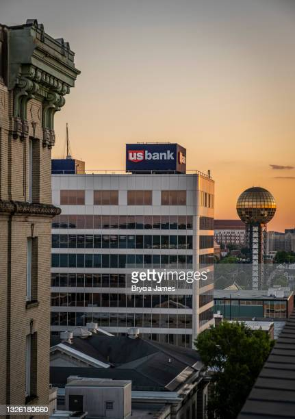 us bank building and sunsphere - knoxville - brycia james stock pictures, royalty-free photos & images