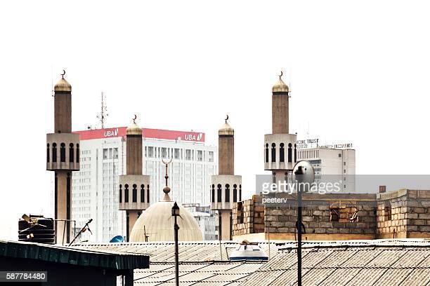 Bank buildings behind main mosque. Lagos, Nigeria.