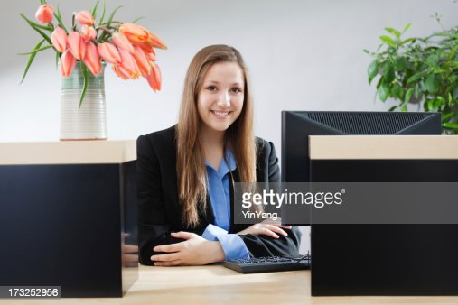 Bank Counter Window With Friendly Smiling Teller Hz Stock
