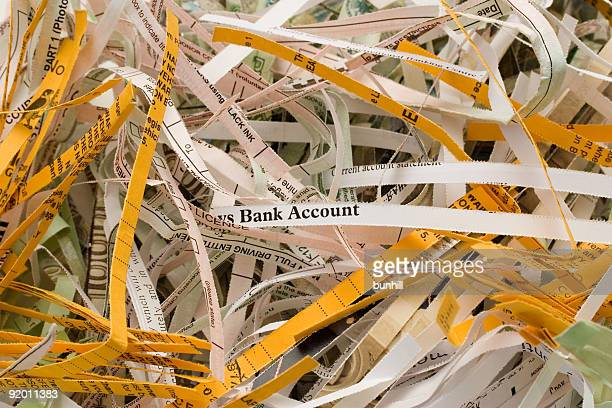 Bank documents that have been put through the shredder