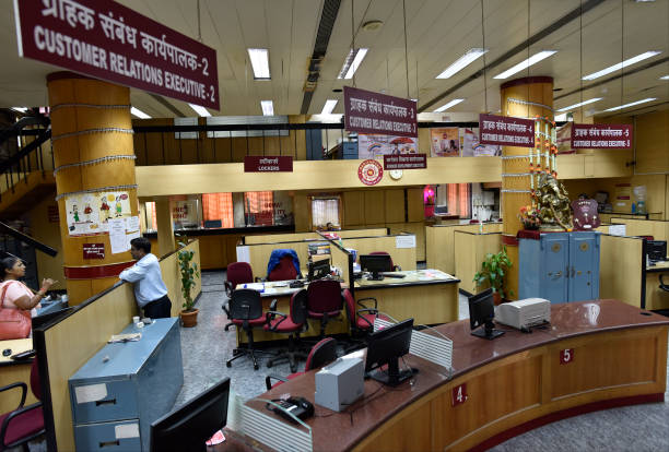 Bank employees on strike at Punjab National Bank of Fort on August 22 2017 in Mumbai India Normal banking operations have been hit as public sector...