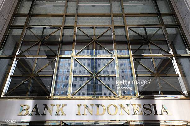 Bank Indonesia signage is displayed at the entrance to the central bank in Jakarta Indonesia on Tuesday Oct 11 2011 Indonesia's central bank...